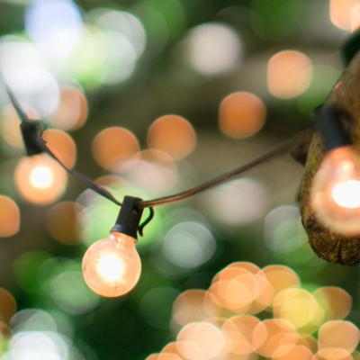 Lights strung outside